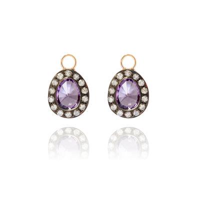 Dusty Diamonds 18ct Gold Amethyst Earring Drops