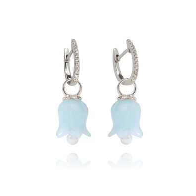 18ct White Gold Aquamarine Tulip Earrings
