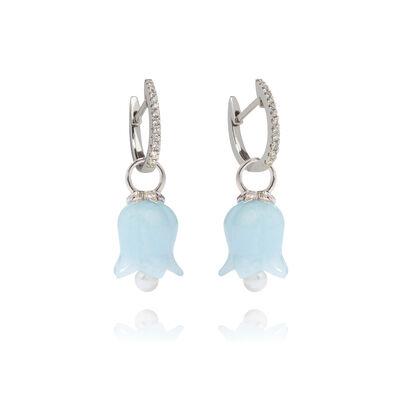 18ct White Gold Aquamarine Tulip Earrings