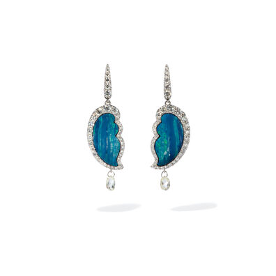 Unique 18ct White Gold Opal Diamond Drop Earrings