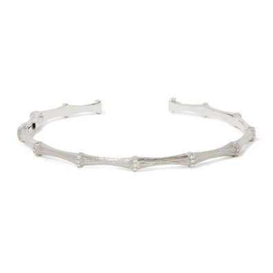 Bamboo 18ct White Gold Diamond Bangle
