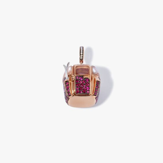 18ct Rose Gold Ruby Diamond Cable Car Charm | Annoushka jewelley