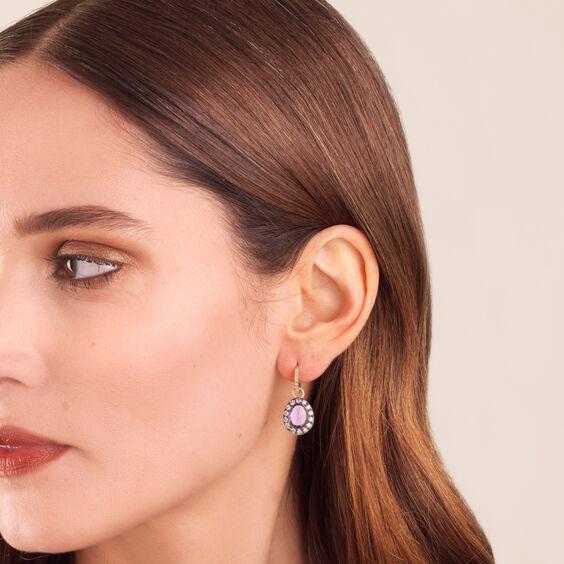 Dusty Diamonds 18ct Gold Amethyst Earrings