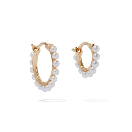 18ct Gold Pearl Hoop Earring Stack | Annoushka jewelley