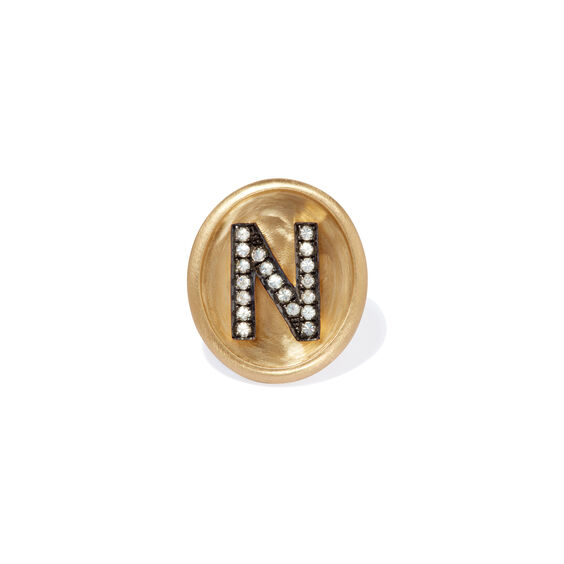 18ct Gold Diamond Initial N Face | Annoushka jewelley