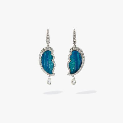 Unique 18ct White Gold Opal Diamond Drop Earrings