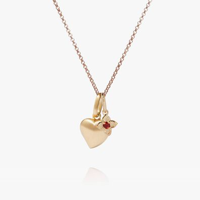 18ct Gold Heart And Garnet Tokens Necklace