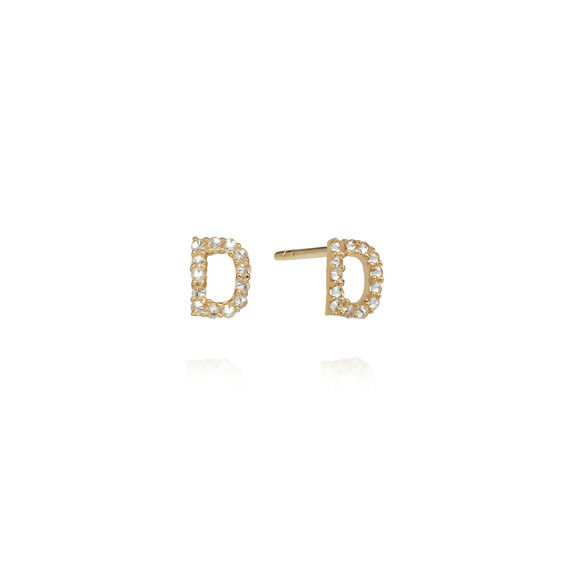 A pair of 18ct Gold Diamond Initial D Stud Earrings