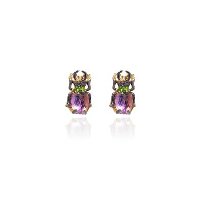 Mythology 18ct Gold Amethyst Beetle Studs