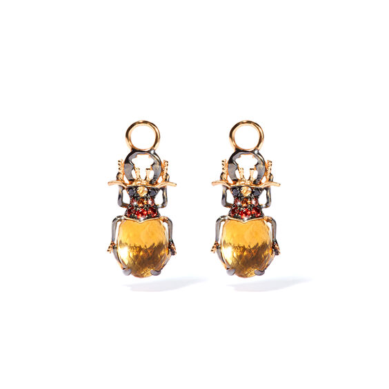Mythology 18ct Gold Citrine Beetle Earring Drops | Annoushka jewelley