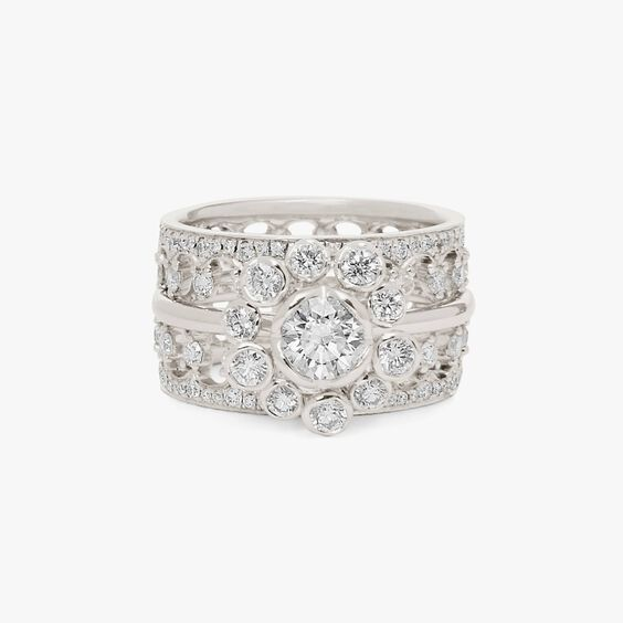18ct White Gold Marguerite Diamond and Double Crown Ring Stack