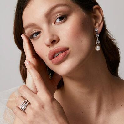 Marguerite 18ct White Gold Diamond & Pearl Earrings