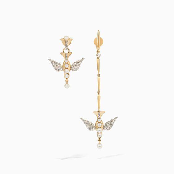 18ct Gold Pearl Diamond Lovebirds Earrings