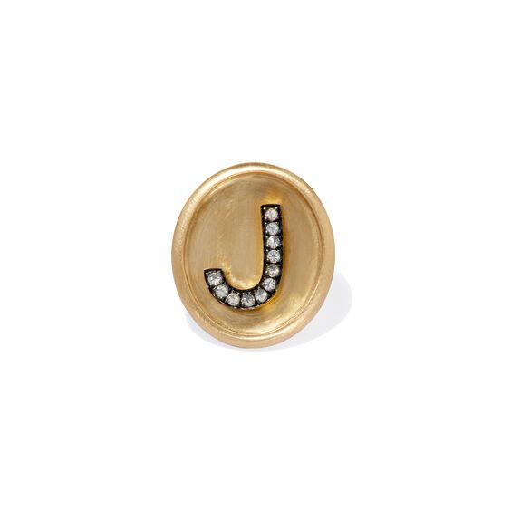 18ct Gold Diamond Initial J Face | Annoushka jewelley