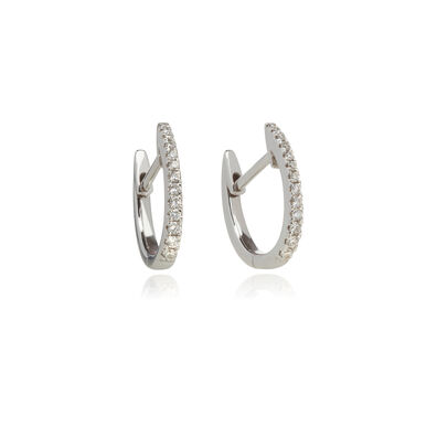 Eclipse 18ct White Gold Diamond Fine Hoop Earrings