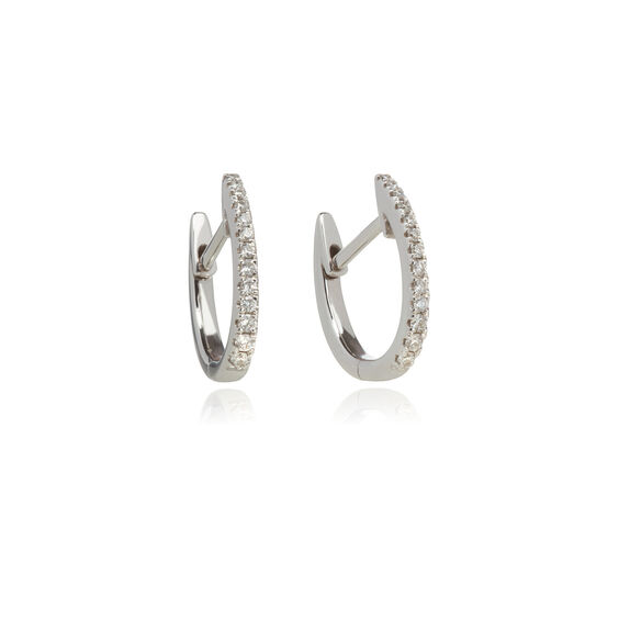 Eclipse 18ct White Gold Diamond Fine Hoop Earrings | Annoushka jewelley