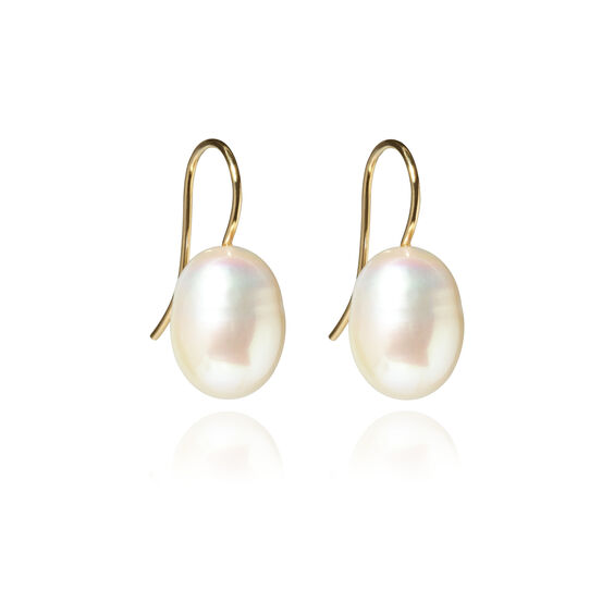 18ct Gold Baroque Pearl Hook Drop Earrings