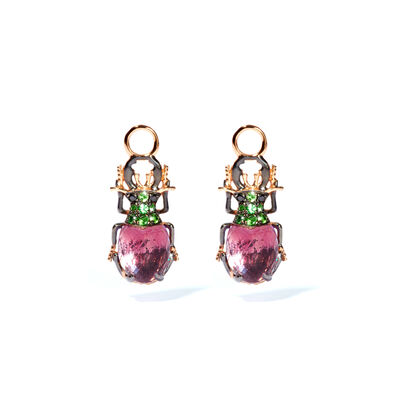 Mythology 18ct Rose Gold Amethyst Beetle Earring Drops