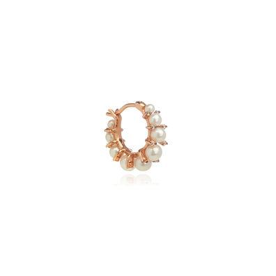 Diamonds & Pearls 18ct Rose Gold Single Hoop