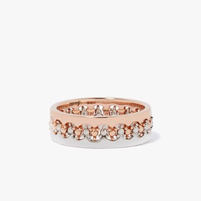 Crown Interlaced Ring Stack in 18ct Mixed Golds