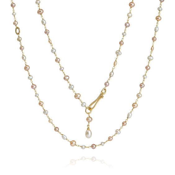 18ct Gold Seed Pearl Long Chain