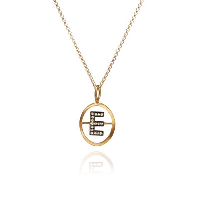 18ct Gold Diamond Initial E Necklace