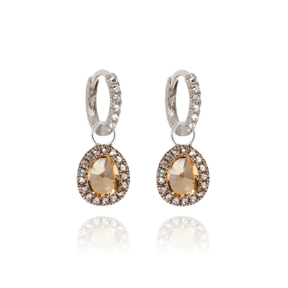 Dusty Diamonds 18ct White Gold Small Citrine Earrings | Annoushka jewelley