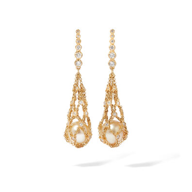 Lattice 18ct Gold Pearl & Diamond Net Earrings