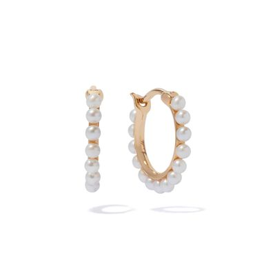 18ct Gold Pearl Hoop Earrings