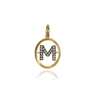 18ct Gold Diamond Initial M Pendant