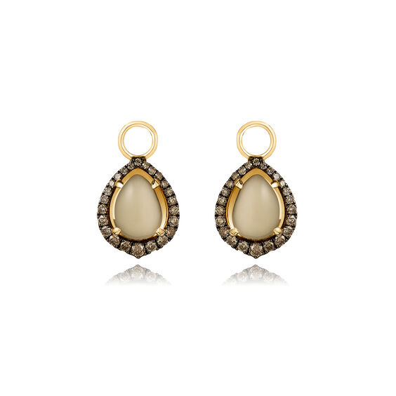 18ct Gold Olive Quartz Diamond Earring Drops