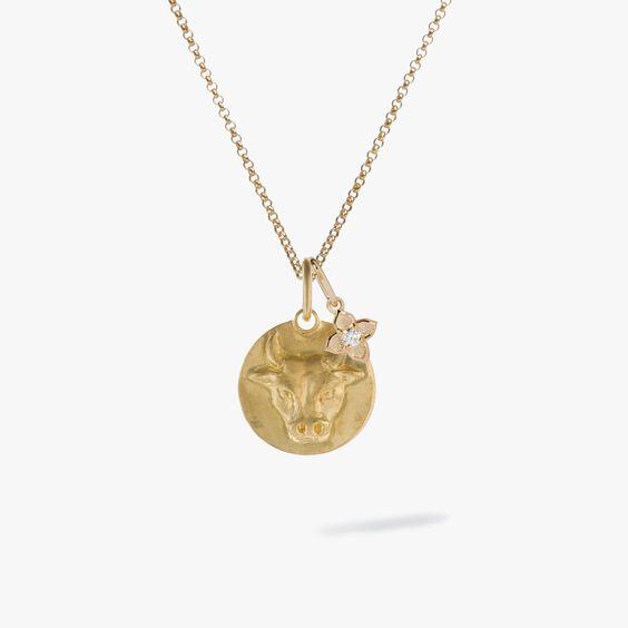 Gold Taurus & Diamond April Birthstone Necklace