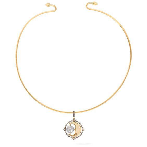 Mythology 18ct Gold Diamond Spinning Moon Choker | Annoushka jewelley
