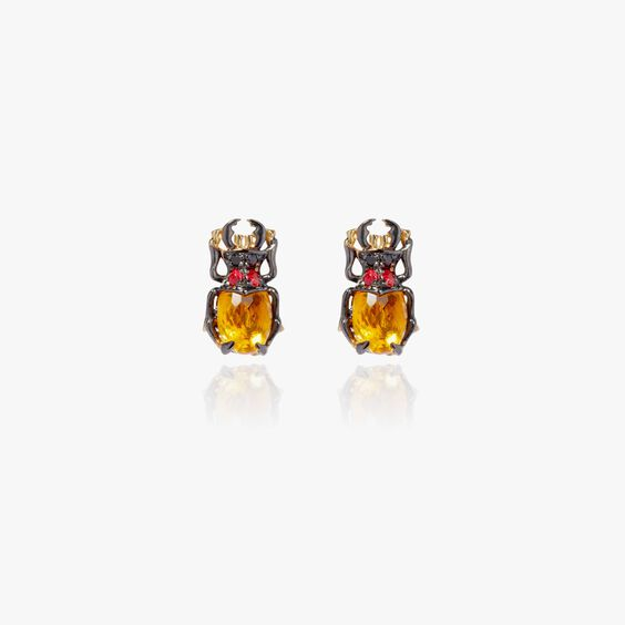 Mythology 18ct Gold Citrine Beetle Studs