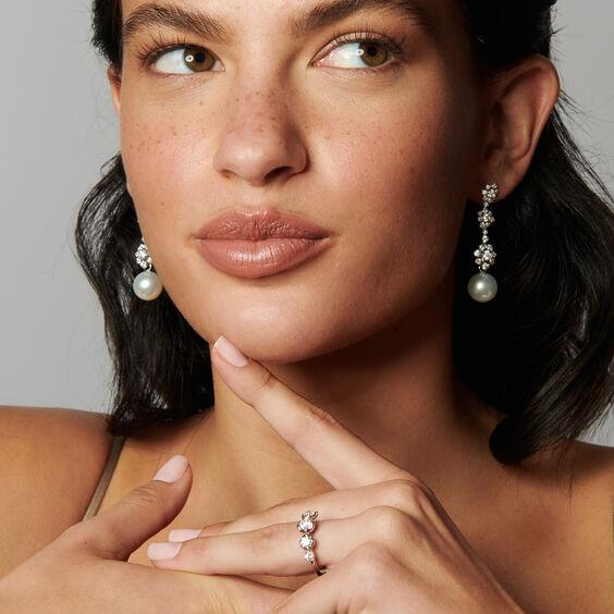 Marguerite 18ct White Gold Diamond & Pearl Earrings | Annoushka jewelley