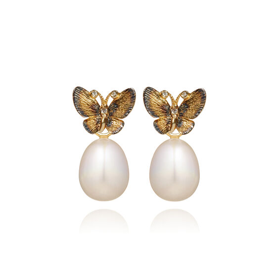 18ct Gold Pearl Butterfly Earrings
