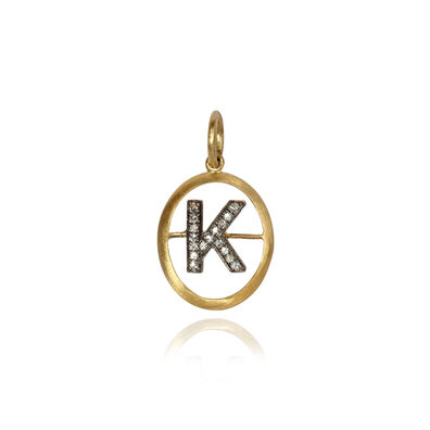18ct Gold Diamond Initial K Pendant