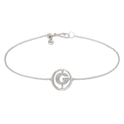 18ct White Gold Diamond Initial G Bracelet