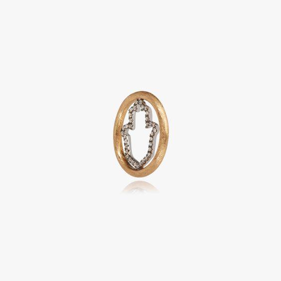 18ct Gold Diamond Hand of Fatima Hoopla | Annoushka jewelley