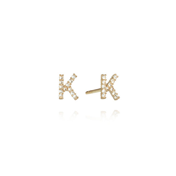 A pair of 18ct Gold Diamond Initial K Stud Earrings