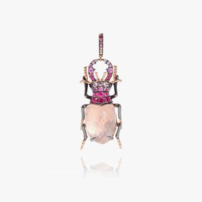 Mythology 18ct Rose Gold Rose Quartz Beetle Charm