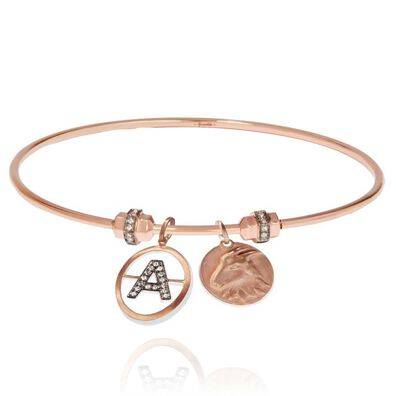 Mythology 18ct Rose Gold Initial and Zodiac Charm Bangle