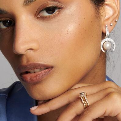 18ct White Gold Diamond & Pearl Earrings