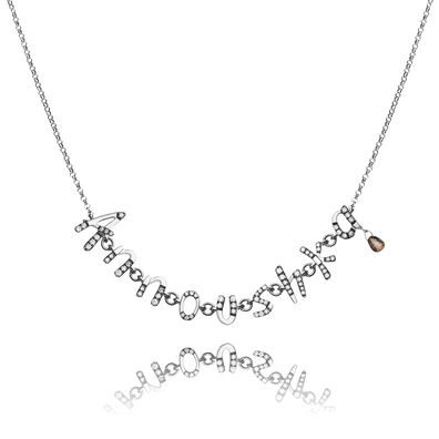 Personalised White Gold Chain Letters Necklace