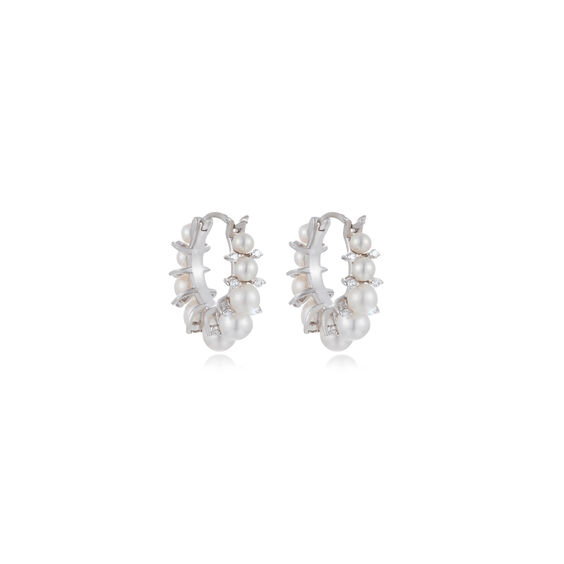 Diamonds & Pearls 18ct White Gold Hoops   Annoushka jewelley