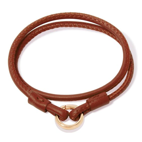 14ct Gold Lovelink 41cms Brown Leather Bracelet | Annoushka jewelley