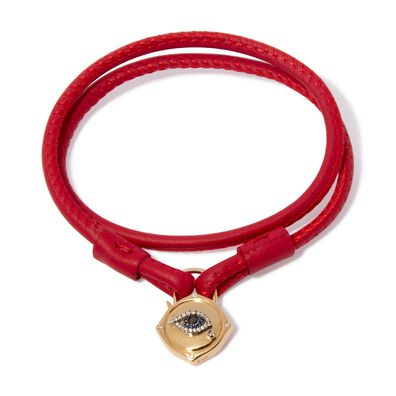 Lovelock 18ct Gold 35cms Red Leather Evil Eye Charm Bracelet