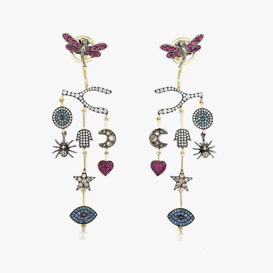 Love Diamonds 18ct Yellow Gold Chandelier Left Earring | Annoushka jewelley