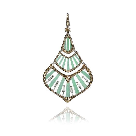Flamenco 18ct White Gold 3.78 ct Diamond Jade Pendant | Annoushka jewelley