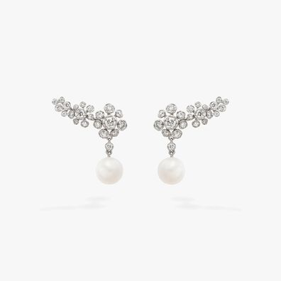 Marguerite Diamond & Pearls Ear Pins